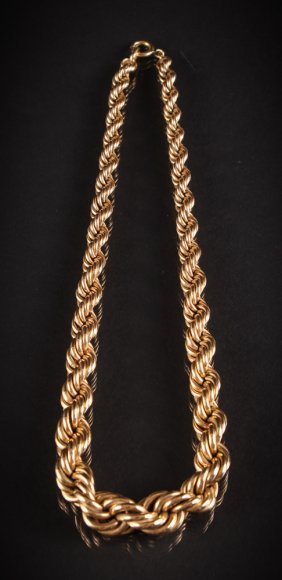 Gold Filled Rope Necklace C. 1950