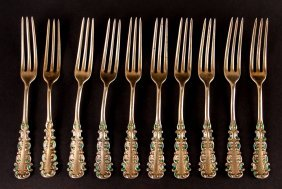 10 Sterling Strawberry Forks With Enamel Decoration