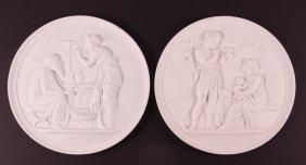 B & G White Porcelain Neoclassical Scene Roundels