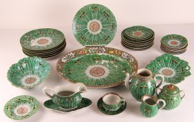 35 Pc. Assembled Export Chinese Cabbage Leaf Dinnerware