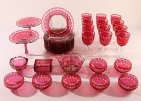 Victorian Cranberry Glass Cut To Clear Set