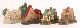 Four Cast Iron Country Cottage Antique Doorstops