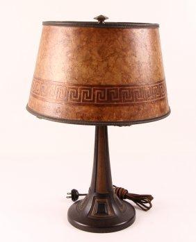 Handel Art Deco Bronze Desk Lamp W Mica Shade