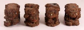 Four Carved Wood Foo Dog Shelving Brackets