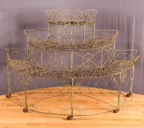 Antique Victorian Iron Greenhouse Etagere & Planter