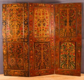 Scandinavian Painted 3 Panel Screen, Arabesque Of