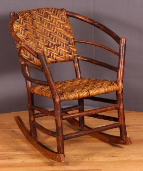 Antique Rustic Folk Art Hickory Rocking Chair