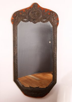 Dutch Colonial Brass Embossed Mirror