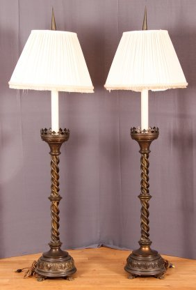 Pair Of Electrified Brass Gothic Revival Candlesticks