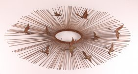 Curtis Jere Style Sunburst With Birds Metal Wall