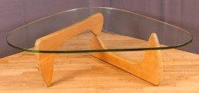 Noguchi Green Glass Top Coffee Table W Birch Base