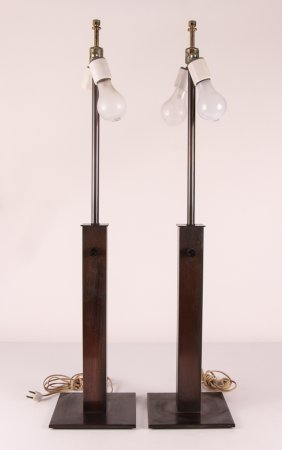Pair Of Tall Bronze Table Lamps By Walter Von Nessen