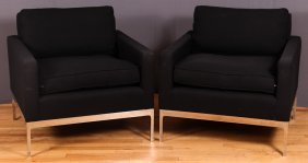 Modern Chrome Based Armchairs W Black Wool Upholstery