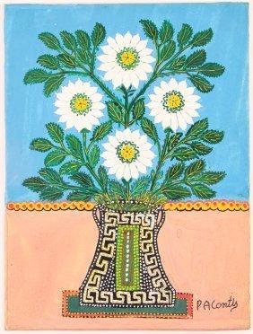 """Peter Contis Ptg. """"white Flower Still Life"""""""