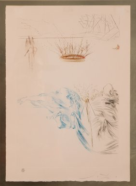 Salvador Dali Signed And Editioned Colored Etching