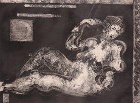 "Edward Eberle 1990 Etching ""luna"""