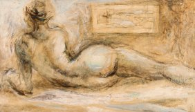 Eugene Kalinowski Reclining Nude Oil