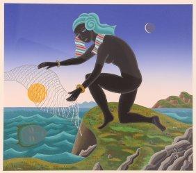 "Thomas Mcknight Original Serigraph ""nubian Fisher"""
