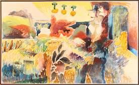 Joseph Shepler Acrylic Surreal Landscape Painting 1978