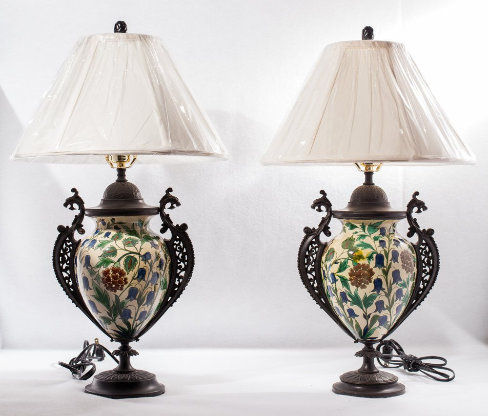 Pair of Pottery Lamps w/Antique Floral Decoration