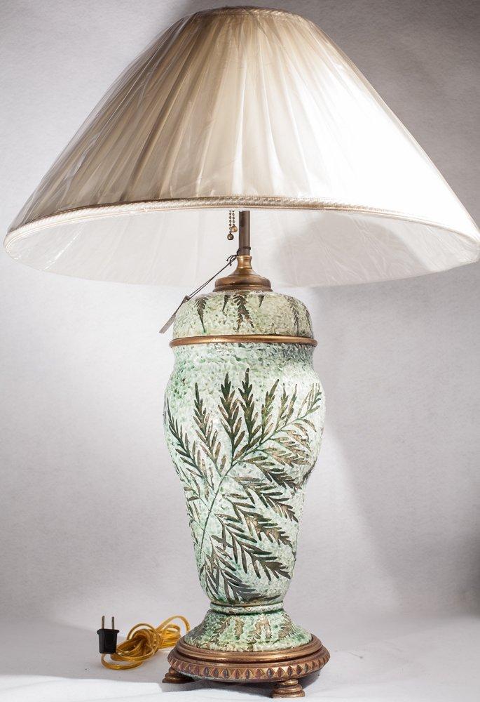 French Majolica Vase Lamp