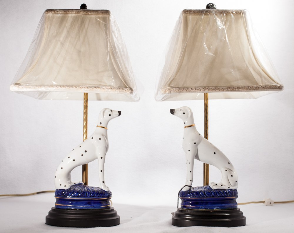 Pair Staffordshire Dog Lamps