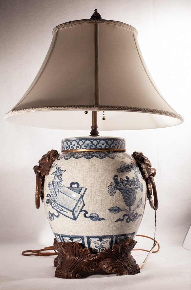 Blue and White Porcelain Lamp possibly Maitland-Smith