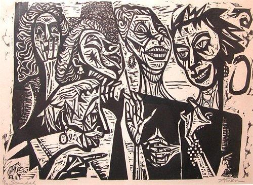 8: Irving Amen woodcut Scandal