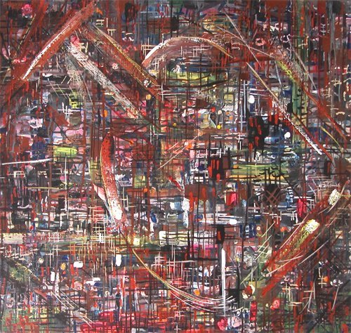 12: Willie Lee Jr Atkyns painting Aerial View of a City