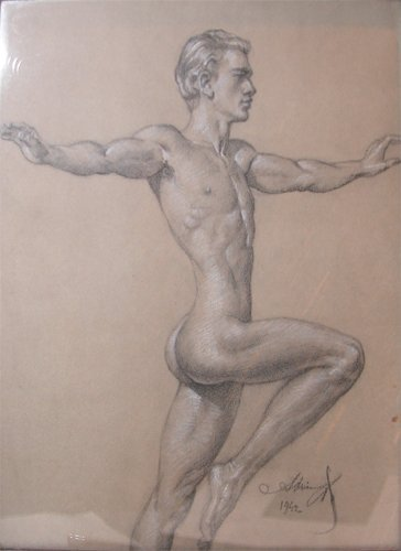 15: Andrey Avinoff drawing of a Male Gymnast 1942