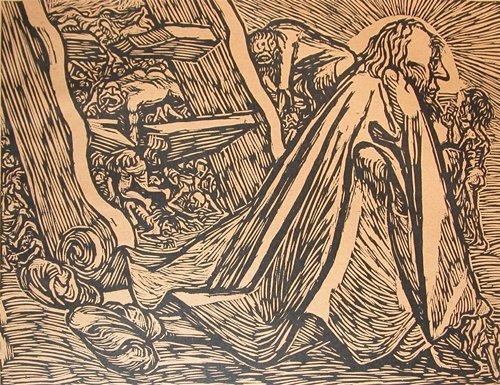 16: Ernst Barlach woodcut The Divine Beggar 1921
