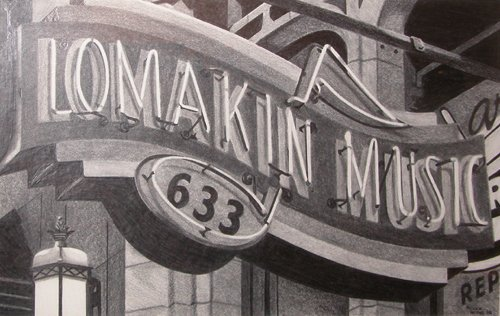 22: Chuck Biddle drawing Lomakin Music