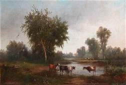 119 Attributed to George King Landscape with Cows Wate