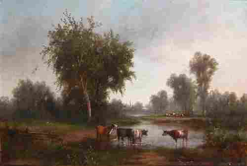 119: Attributed to George King Landscape with Cows Wate
