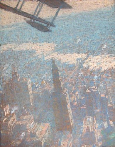 255: Everett Warner Pastel New York from a Seaplane