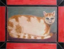 346: Pat Varner painting of a Smiling Cat 1987
