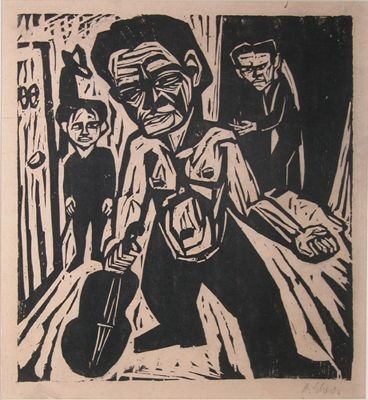 2A: German Expressionist woodcut The Violinist