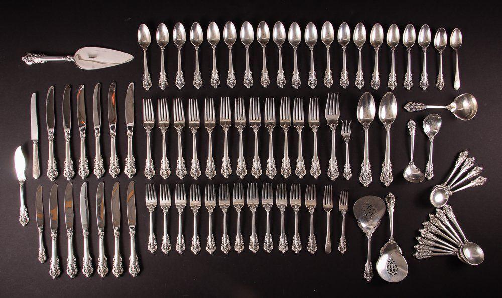 83 Piece Wallace Sterling Silver Grand Baroque Flatware