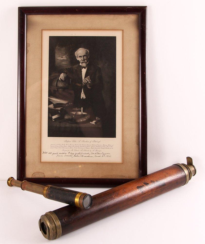 2 19th cen Spyglasses & pic of Astronomer John Brashear
