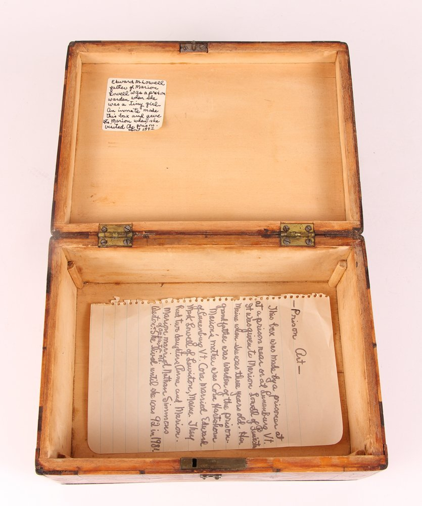Prison made Folk Art Marquetry Box - 4