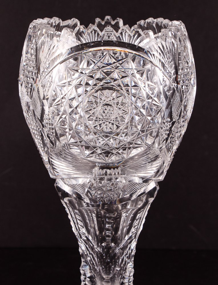 Brilliant Cut Glass Tulip Vase - 3