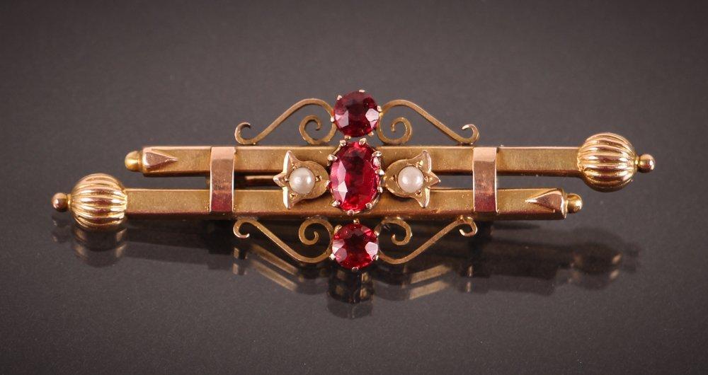 Edwardian Gold, Pearl, & Semi-Precious Stone Pin w Box