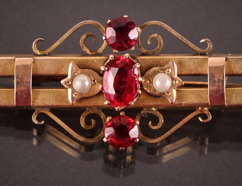 Edwardian Gold, Pearl, & Semi-Precious Stone Pin w Box - 2