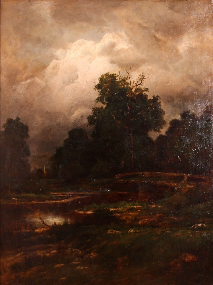 """Charles Linford """"Stormy Forest Landscape"""" Oil Painting"""