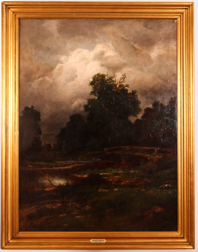 """Charles Linford """"Stormy Forest Landscape"""" Oil Painting - 2"""