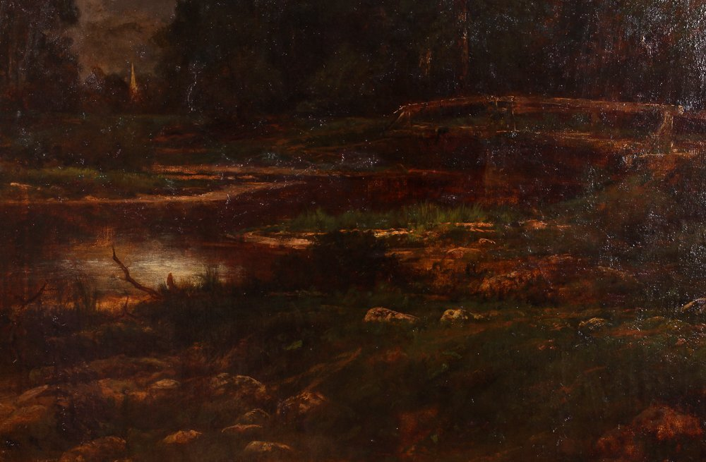 """Charles Linford """"Stormy Forest Landscape"""" Oil Painting - 4"""