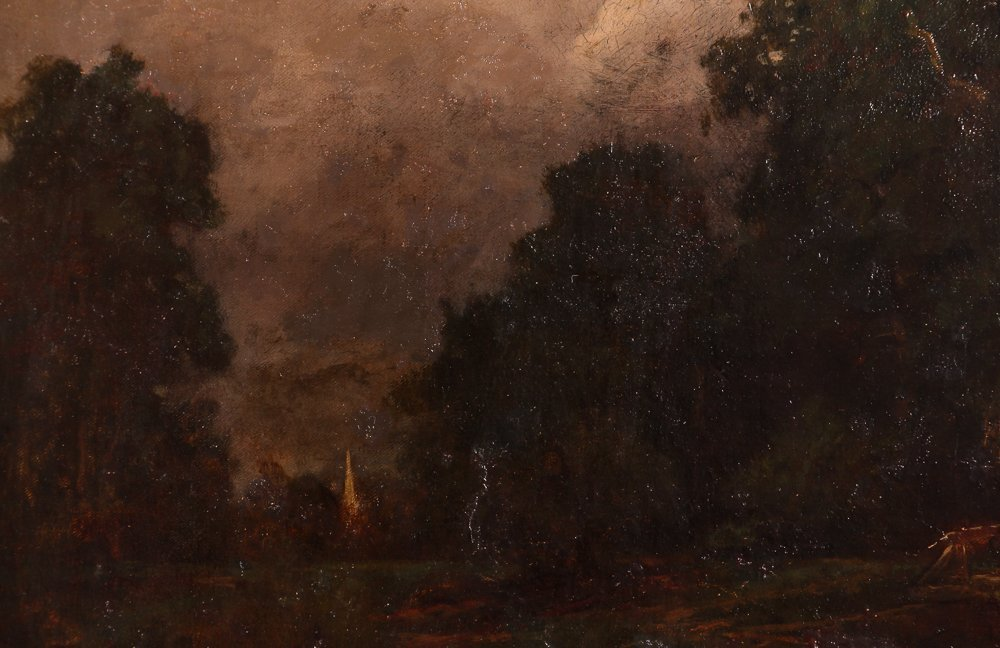 """Charles Linford """"Stormy Forest Landscape"""" Oil Painting - 5"""
