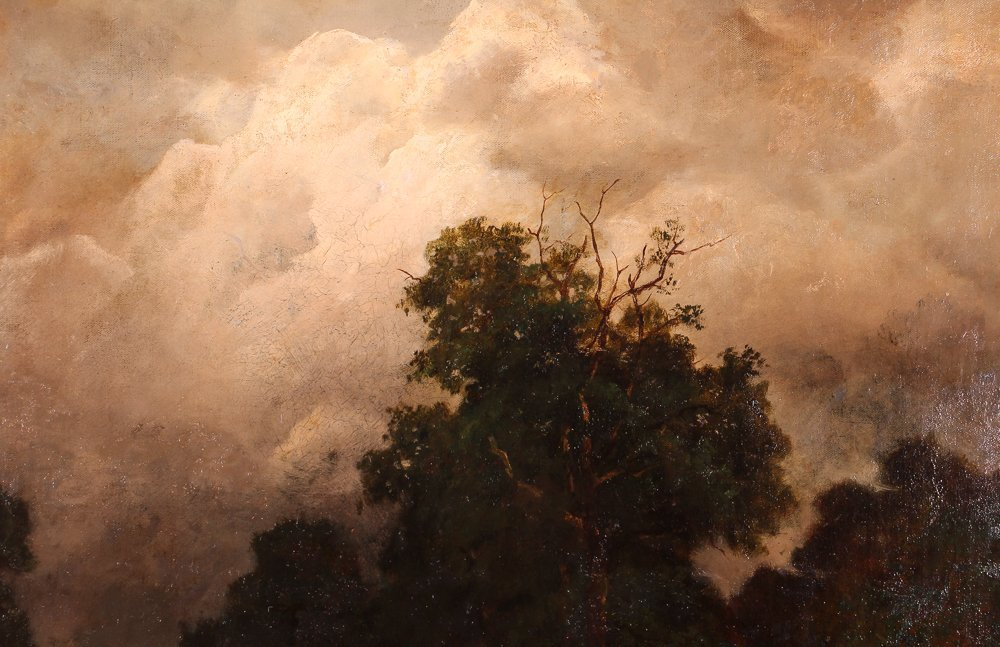 """Charles Linford """"Stormy Forest Landscape"""" Oil Painting - 6"""