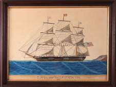 """Clipper Ship """"Racer"""" of New York watercolor"""