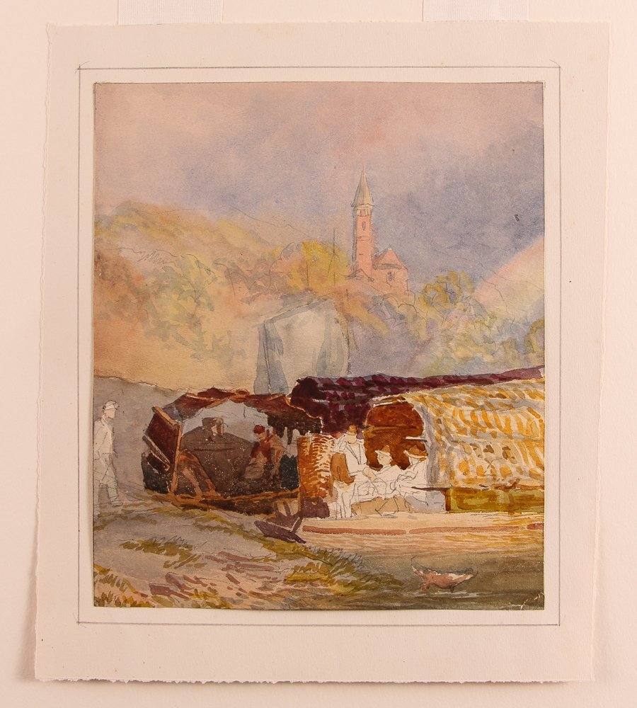 Collection of 3 19th Century Watercolors with 1 Pastel - 8